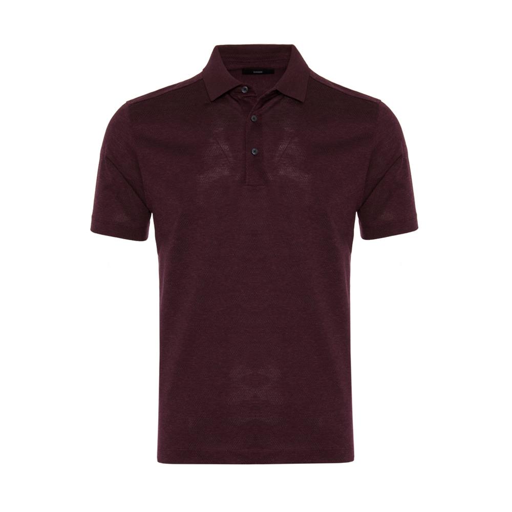 Gallus Bordo Melanj Filo Di Scozia Polo Yaka T-Shirt