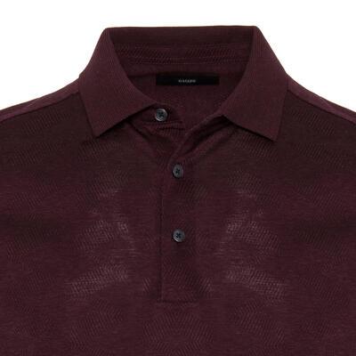 Gallus - Gallus Bordo Melanj Filo Di Scozia Polo Yaka Tailor Fit T-Shirt (1)