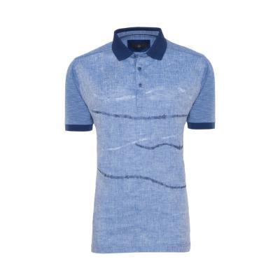 Gallus - Gallus Çivid Mavi İşlemeli Filodi Scozia Keten Polo T-Shirt