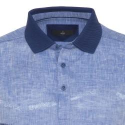 Gallus Çivid Mavi İşlemeli Filodi Scozia Keten Polo T-Shirt - Thumbnail