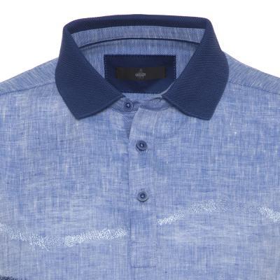 Gallus - Gallus Çivid Mavi İşlemeli Filodi Scozia Keten Polo T-Shirt (1)