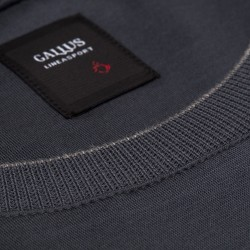 Gallus - Gallus Gri Filo Di Scozia Örme Bisiklet Yaka Tailor Fit Uzun Kollu T-Shirt (1)