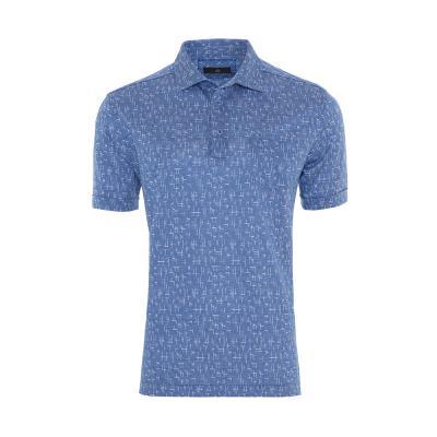 Gallus - Gallus Koyu Mavi Dokulu Beyaz Çubuk Desenli Filo Di Scozia Gömlek Yaka T-Shirt