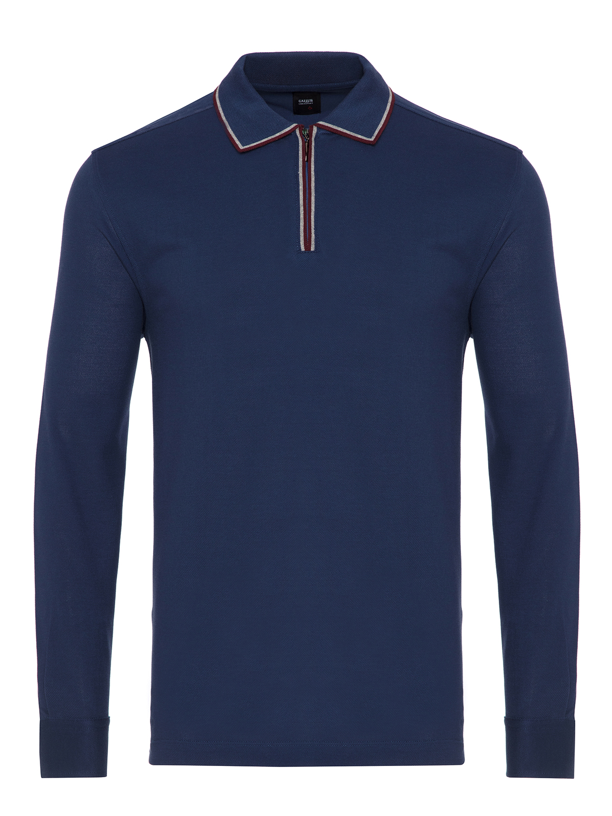 Gallus - Gallus Koyu Mavi Piquet Filo Di Scozia Polo Yaka Fermuarlı Tailor Fit Uzun Kollu T-Shirt