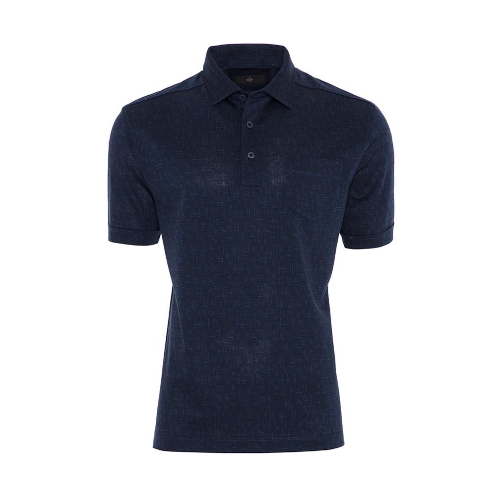 Gallus Lacivert Dokulu Mavi Çubuk Desenli Filo Di Scozia Gömlek Yaka T-Shirt