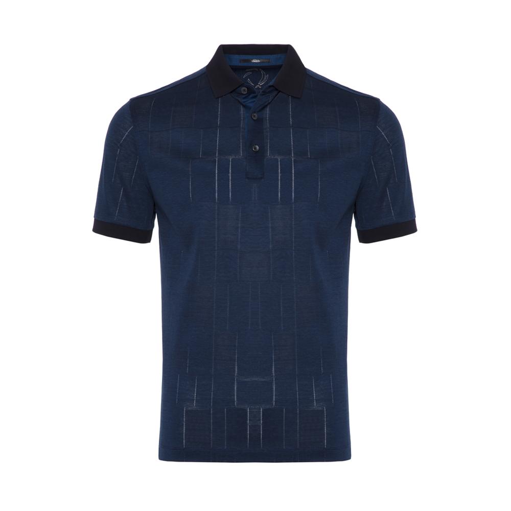 Gallus - Gallus Navy Filafil Filo Di Scozia Polo Collar T-Shirt