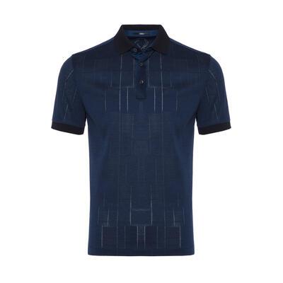 Gallus - Gallus Lacivert Filafil Filo Di Scozia Polo Yaka T-Shirt