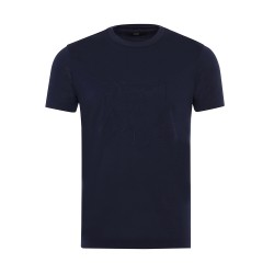 Gallus - Gallus Lacivert Filo Di Scozia Örme Bisiklet Yaka İşlemeli Slim Fit T-Shirt