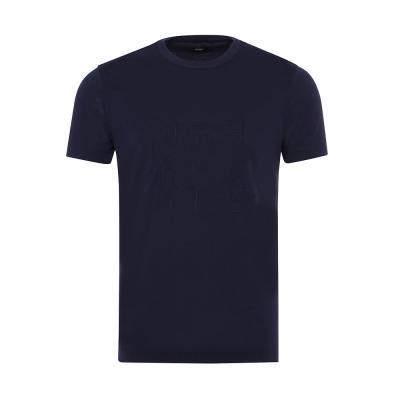 Gallus Lacivert Filo Di Scozia Örme Bisiklet Yaka İşlemeli Slim Fit T-Shirt