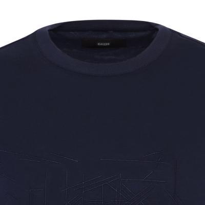 Gallus - Gallus Lacivert Filo Di Scozia Örme Bisiklet Yaka İşlemeli Slim Fit T-Shirt (1)