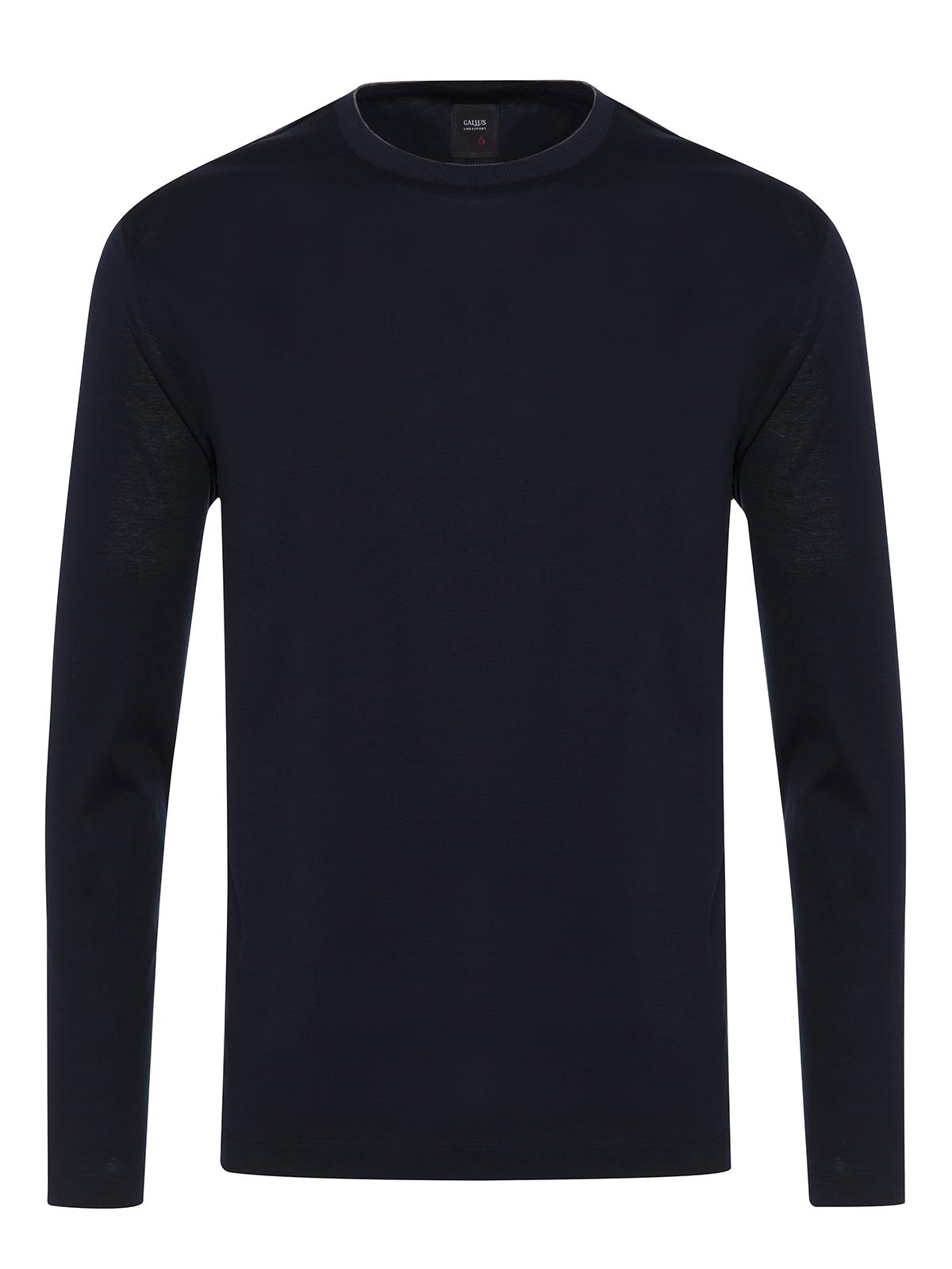 Gallus - Gallus Lacivert Filo Di Scozia Örme Bisiklet Yaka Tailor Fit Uzun Kollu T-Shirt