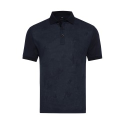 Gallus - Gallus Lacivert Filo Di Scozia Polo Yaka Keten İşlemeli Tailor Fit T-Shirt
