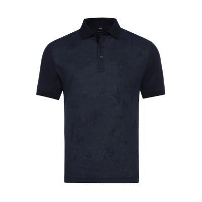 Gallus Lacivert Filo Di Scozia Polo Yaka Keten İşlemeli Tailor Fit T-Shirt
