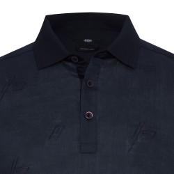 Gallus Lacivert Filo Di Scozia Polo Yaka Keten İşlemeli Tailor Fit T-Shirt - Thumbnail