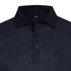 Gallus - Gallus Lacivert Filo Di Scozia Polo Yaka Keten İşlemeli Tailor Fit T-Shirt (1)