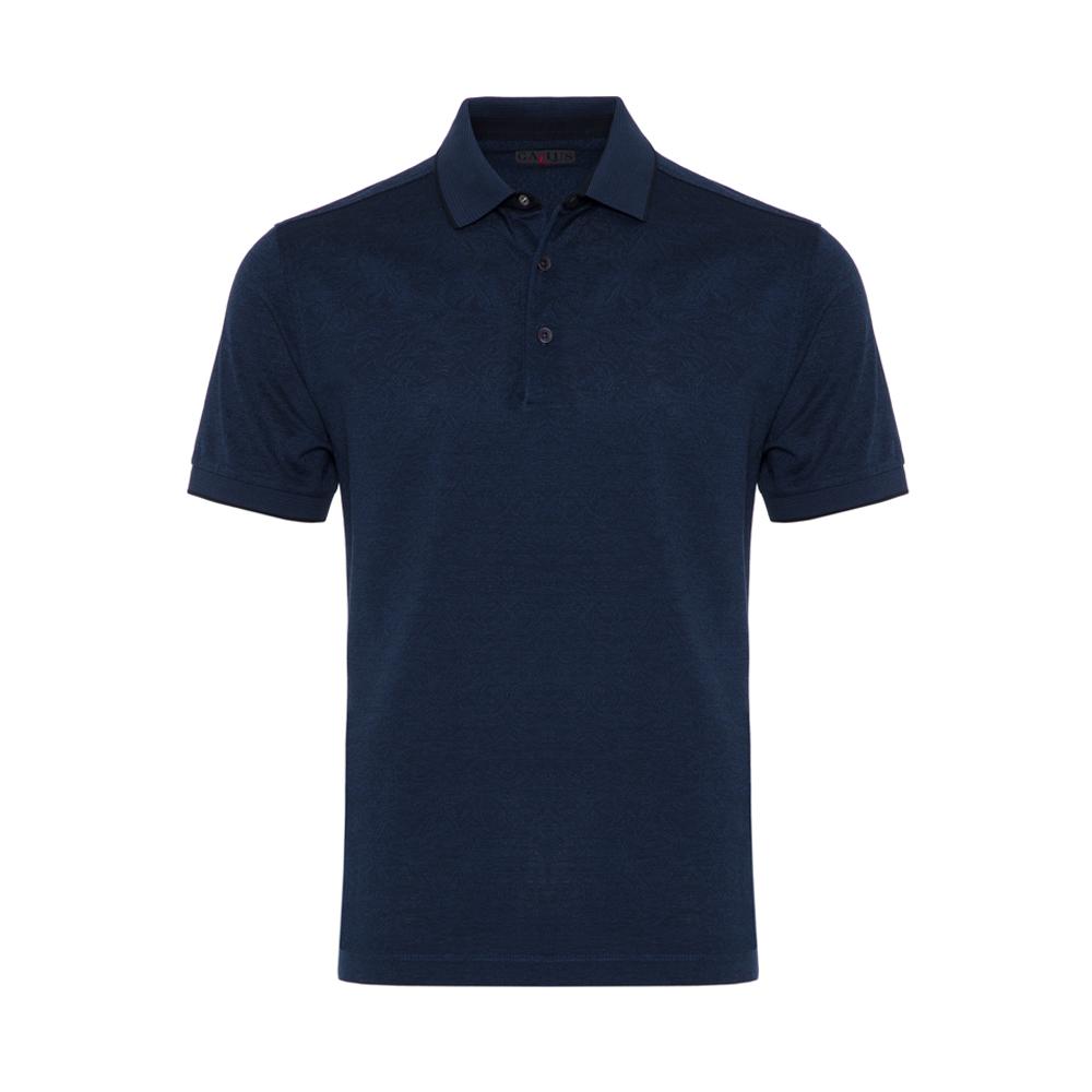 Gallus - Gallus Lacivert Kendinden Desenli Filo Di Scozia Polo Yaka Tailor Fit T-Shirt