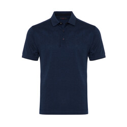 Gallus - Gallus Lacivert Kendinden Desenli Filo Di Scozia Polo Yaka T-Shirt