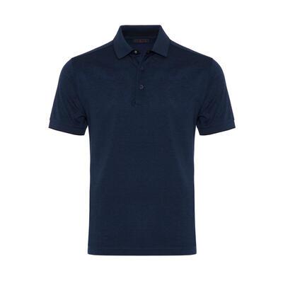 Gallus Lacivert Kendinden Desenli Filo Di Scozia Polo Yaka Tailor Fit T-Shirt