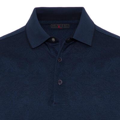 Gallus - Gallus Lacivert Kendinden Desenli Filo Di Scozia Polo Yaka Tailor Fit T-Shirt (1)