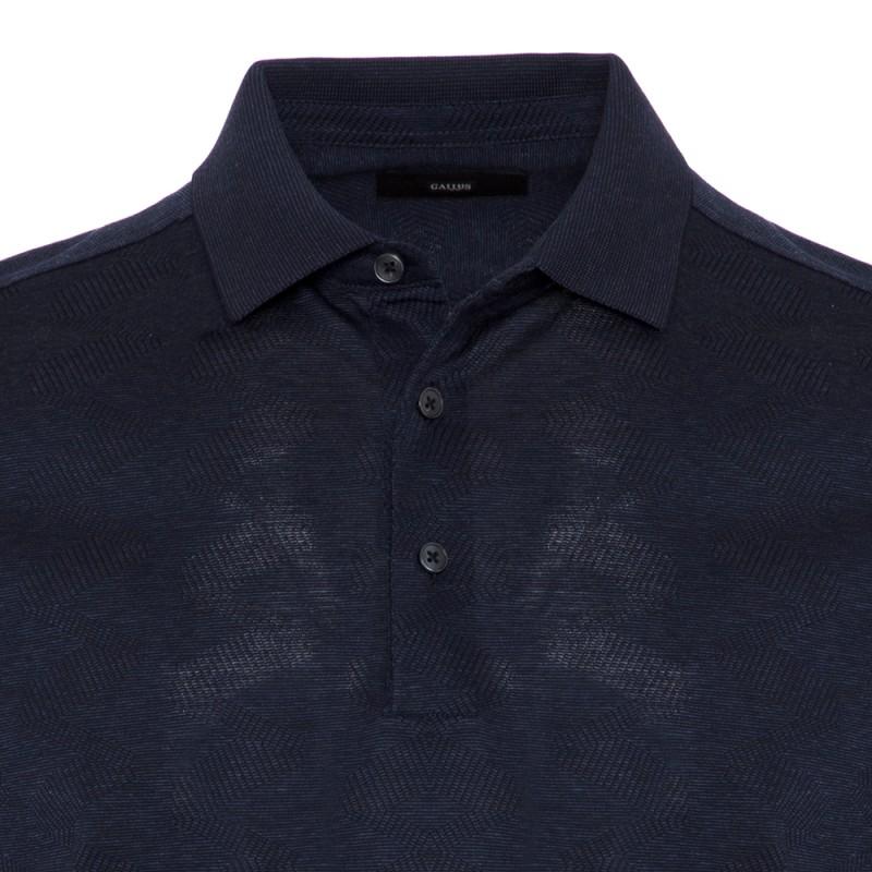 Gallus - Gallus Navy Melange Filo Di Scozia Polo Collar T-Shirt (1)