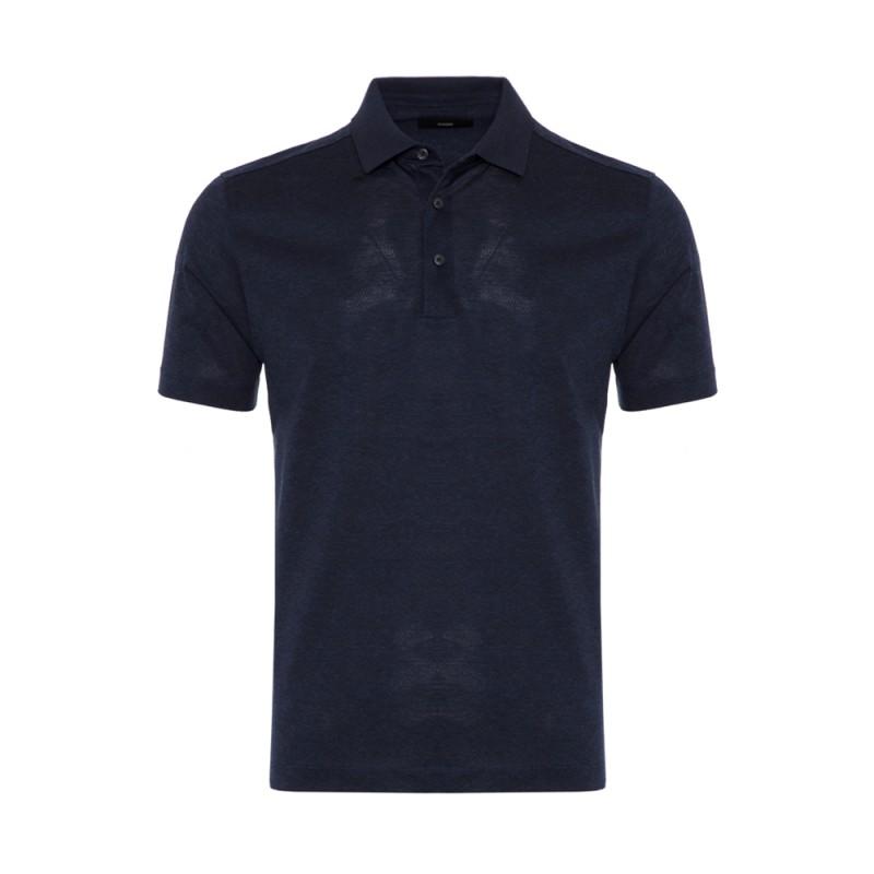 Gallus - Gallus Lacivert Melanj Filo Di Scozia Polo Yaka T-Shirt