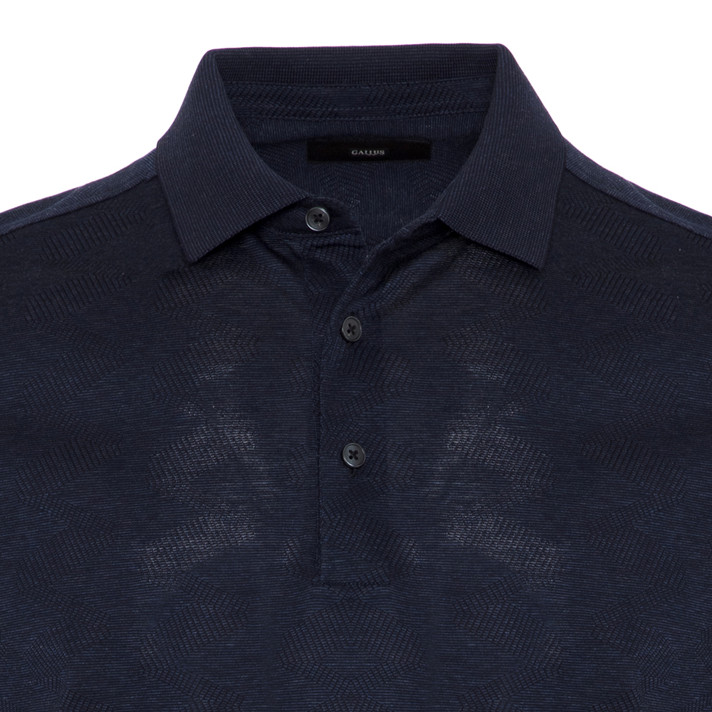 Gallus Lacivert Melanj Filo Di Scozia Polo Yaka T-Shirt
