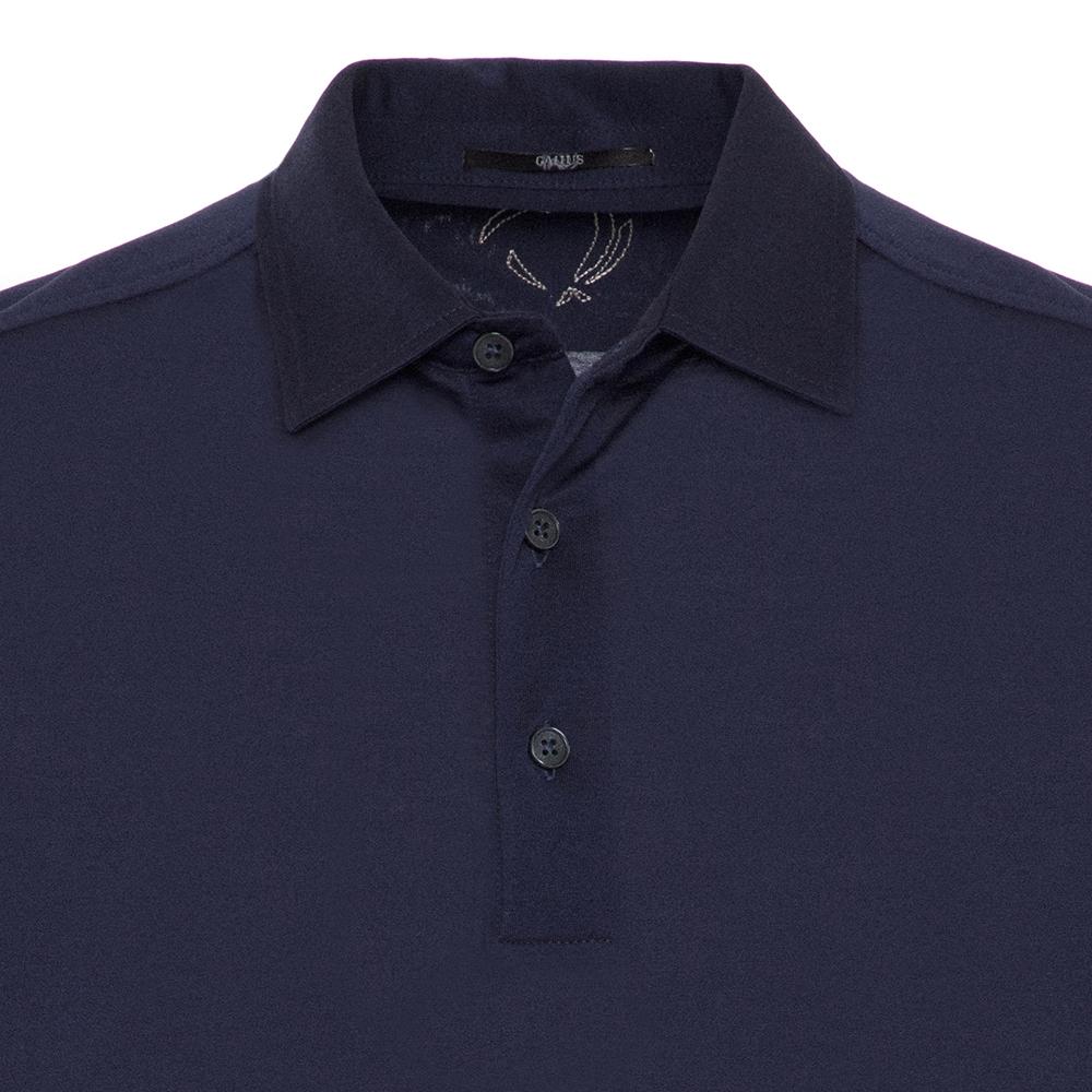 Gallus Lacivert Merserize Filo Di Scozia Polo Gömlek Yaka Tailor Fit T-Shirt