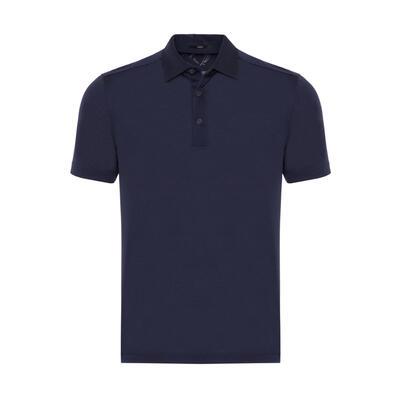 Gallus - Gallus Lacivert Merserize Filo Di Scozia Polo Gömlek Yaka T-Shirt