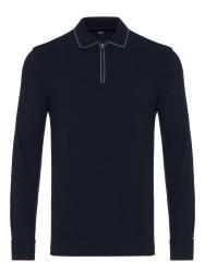 Gallus - Gallus Lacivert Piquet Filo Di Scozia Polo Yaka Fermuarlı Tailor Fit Uzun Kollu T-Shirt