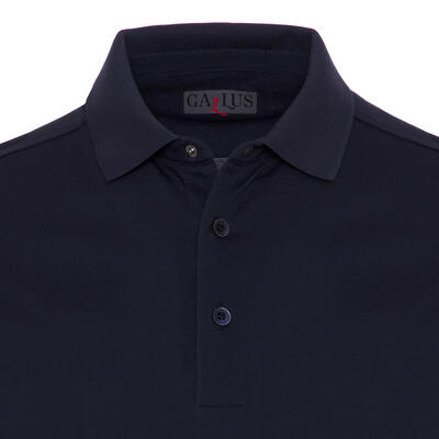 Gallus - Gallus Navy Piquet Filo Di Scozia Polo Collar T-Shirt (1)