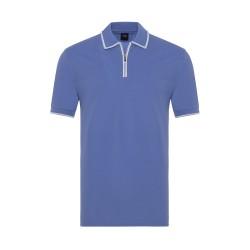 Gallus - Gallus Lila Piquet Filo Di Scozia Polo Yaka Fermuarlı Tailor Fit T-Shirt