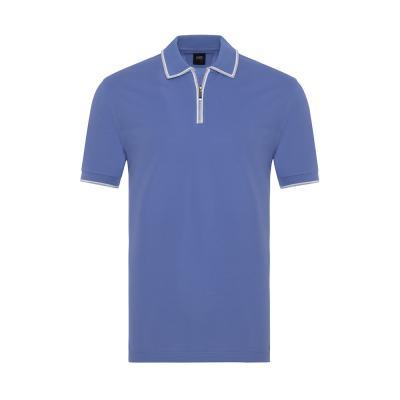 Gallus Lila Piquet Filo Di Scozia Polo Yaka Fermuarlı Tailor Fit T-Shirt