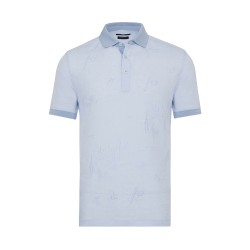 Gallus - Gallus Mavi Filo Di Scozia Polo Yaka Keten İşlemeli Tailor Fit T-Shirt