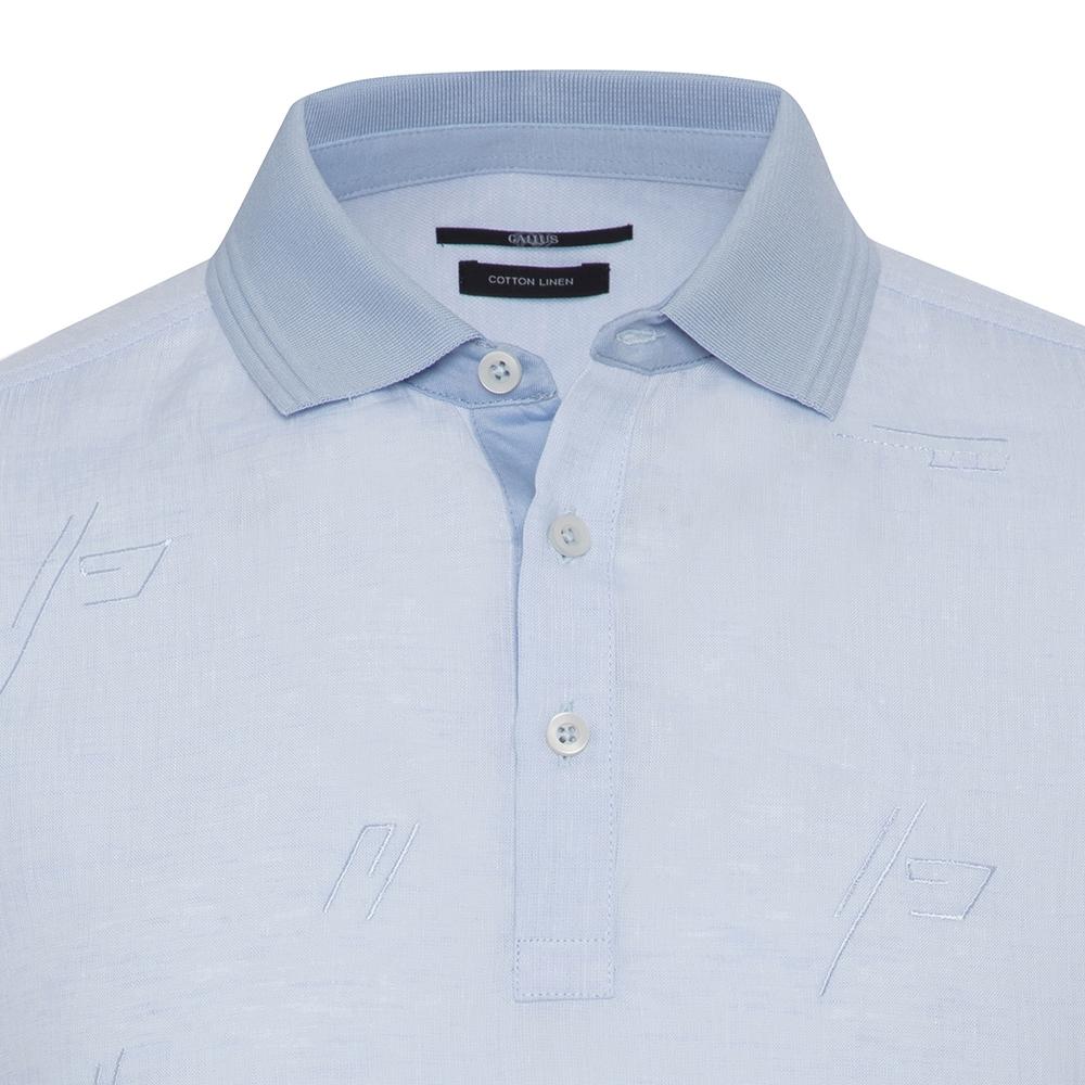 Gallus Mavi Filo Di Scozia Polo Yaka Keten İşlemeli Tailor Fit T-Shirt
