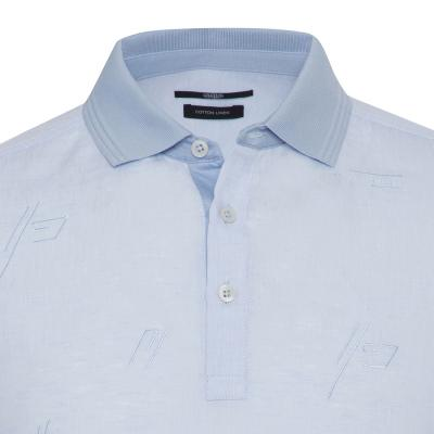 Gallus - Gallus Mavi Filo Di Scozia Polo Yaka Keten İşlemeli Tailor Fit T-Shirt (1)