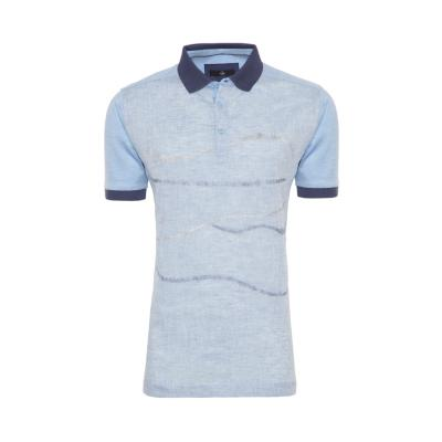 Gallus - Gallus Mavi İşlemeli Filodi Scozia Keten Polo T-Shirt