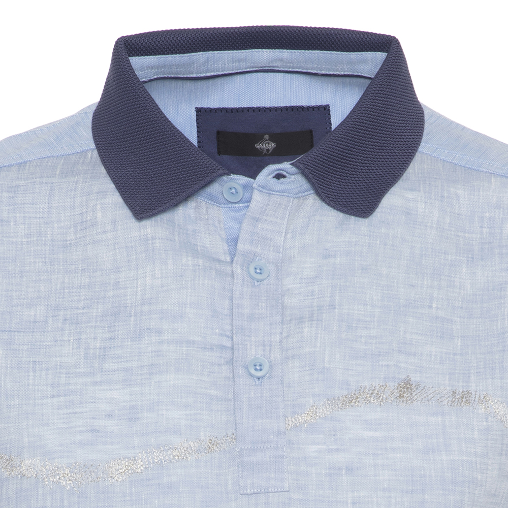 Gallus Mavi İşlemeli Filodi Scozia Keten Polo T-Shirt