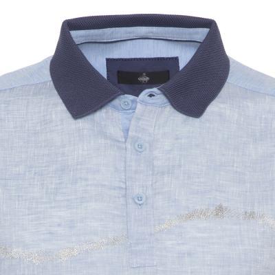 Gallus - Gallus Mavi İşlemeli Filodi Scozia Keten Polo T-Shirt (1)