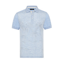 Gallus - Gallus Mavi İşlemeli Önü Keten Arkası Pamuk Filo Di Scozia Polo Yaka T-Shirt
