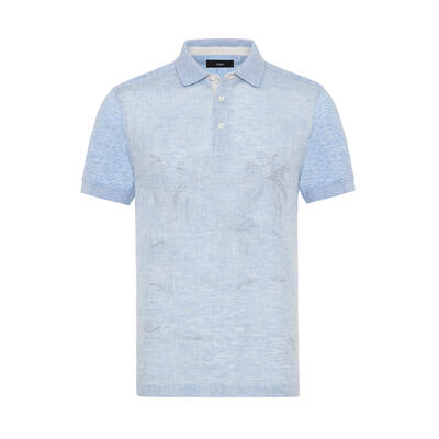 Gallus Mavi İşlemeli Önü Keten Arkası Pamuk Filo Di Scozia Polo Yaka Tailor Fit T-Shirt