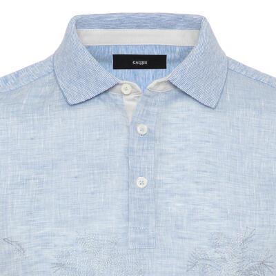 Gallus - Gallus Mavi İşlemeli Önü Keten Arkası Pamuk Filo Di Scozia Polo Yaka Tailor Fit T-Shirt (1)