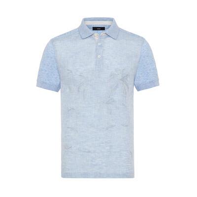 Gallus - Gallus Blue front side Linen back side cotton Filo Di Scozia Polo Collar T-Shirt