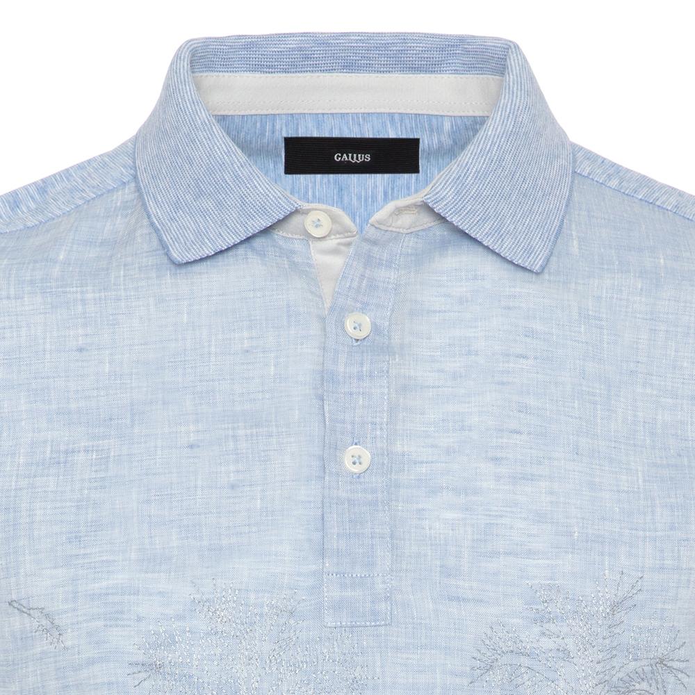 Gallus Mavi İşlemeli Önü Keten Arkası Pamuk Filo Di Scozia Polo Yaka T-Shirt