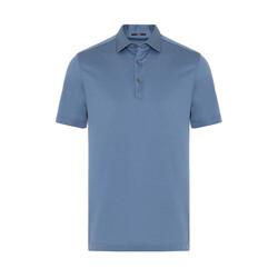 Gallus - Gallus Mavi Merserize Filo Di Scozia Polo Gömlek Yaka T-Shirt