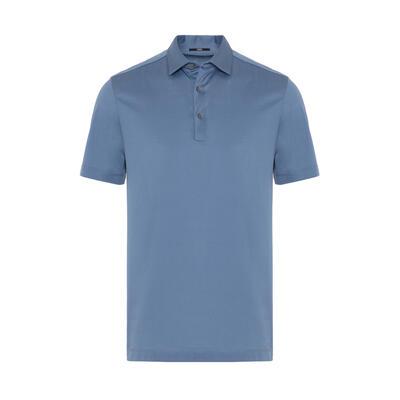 Gallus Mavi Merserize Filo Di Scozia Polo Gömlek Yaka Tailor Fit T-Shirt
