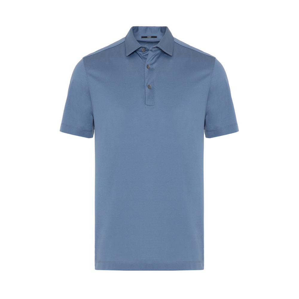 Gallus Mavi Merserize Filo Di Scozia Polo Gömlek Yaka T-Shirt