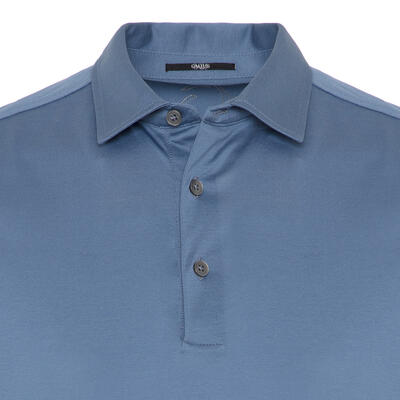 Gallus - Gallus Mavi Merserize Filo Di Scozia Polo Gömlek Yaka T-Shirt (1)