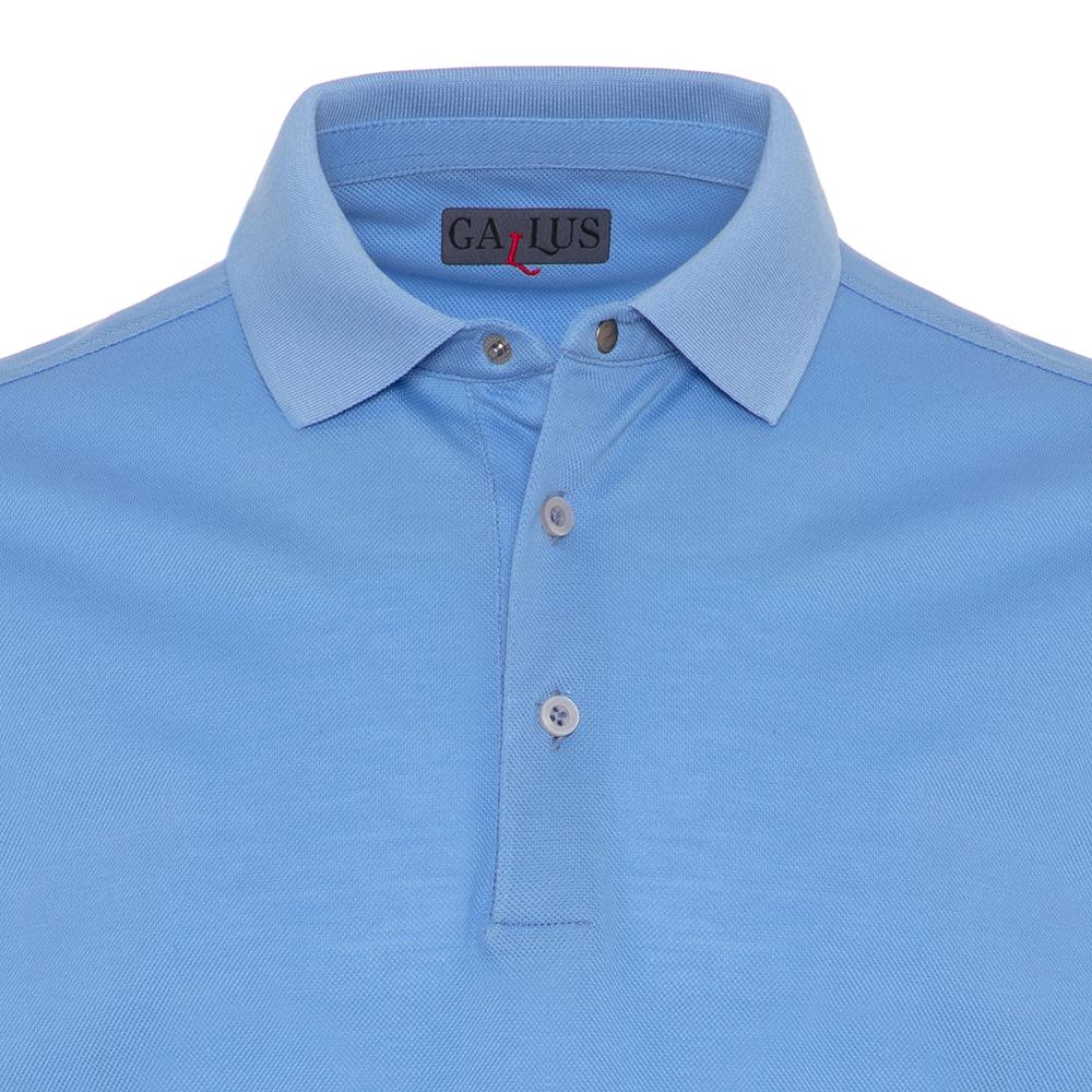 Gallus Mavi Piquet Filo Di Scozia Polo Yaka Tailor Fit T-Shirt