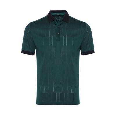 Gallus - Gallus Dark Green Filo Di Scozia Polo Collar T-Shirt