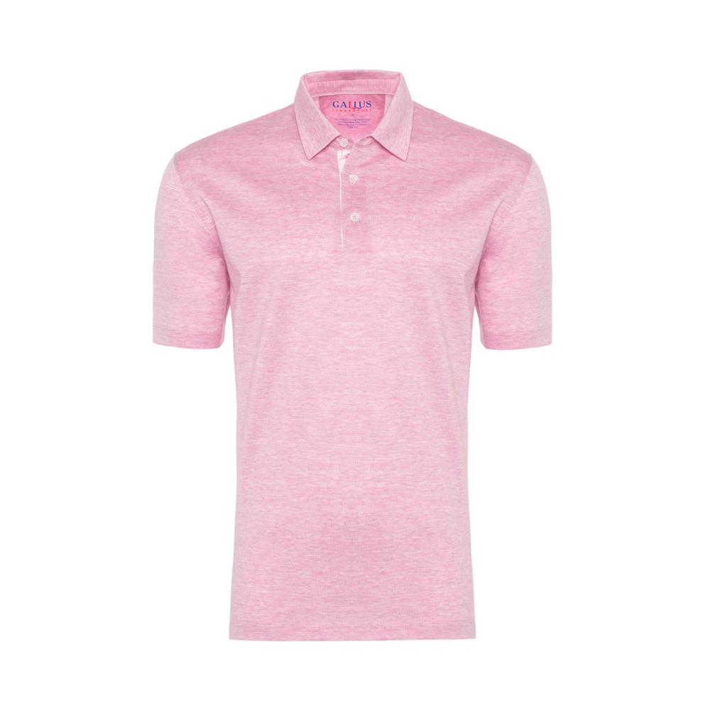 Gallus Pembe Kendinden Deseni Filodi Scozia Gömlek Yaka Polo T-Shirt